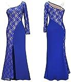 LemonGirl Women's One Shoulder Slim Lace Stitching Bridesmaid Long Dress Evening Dresses