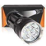 E-Plaza 6 x CREE XM-L T6 LED Taschenlampe Licht 6000LM Sicherheit 3 Modi Riot Taschenlampe mit Akkus und Ladegerät - Schwarz