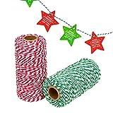 Noël Craft Boulanger, 2rouleaux Cadeau de Noël Corde de coton (600Pieds) + 20pcs pour cadeaux de Noël pour décoration de cadeau de Noël DIY