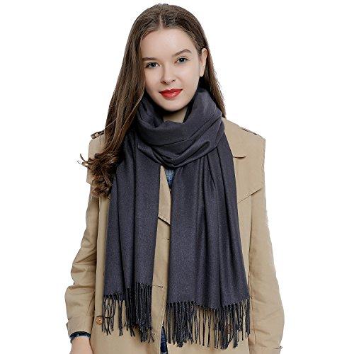 DonDon Damen Schal einfarbig weich 185 x 65 cm Anthrazit