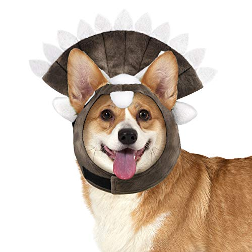 Pawaboo Dog Costume Triceratops Headpiece, Puppy Party Funny Headwear with Ear Holes & Elastic Ribbon, Cute Animal Shape Cosplay Costume Cap Head Cover Halloween Party Dress Up Accessory, (Dinosaur Pet Kostüm)