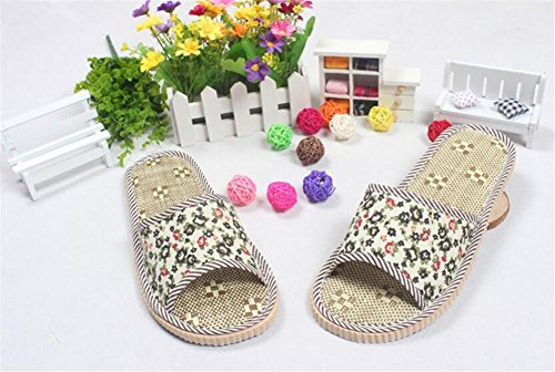 Pantofole delle coppie di lino Piccoli pattini floreali del rattan Pattini freddi interni Schiuma molle della gomma piuma aperta delle pantofole 2pcs D