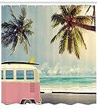 Abakuhaus Duschvorhang, Transporter VW T1 Bus Cooles Hippie Wagen Foto Hipster Palmen Strand im Hintergrund Foto Druck, Blickdicht aus Stoff mit 12 Ringen Waschbar Langhaltig Hochwertig, 175 X 200 cm