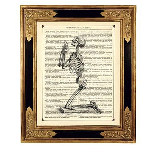Betendes Skelett Gothic Druck Kunstdruck auf viktorianischer Buchseite Geschenk Halloween Steampunk ungerahmt
