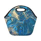 Best Blue Aqua Air Stones - Insulated Neoprene Lunch Bag Blue Gold Liquid Texture Review