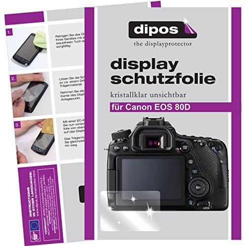 dipos Canon EOS 80D Schutzfolie (6 Stück) - kristallklare Premium Folie Crystalclear
