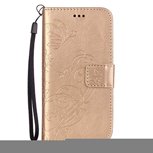 iPhone Case Cover Folio-Schlag-Standplatz-Fall, Mappen-Kasten mit Bargeld und Karten-Slot Premium-PU-Leder-Schutzhülle aus Silikon für iPhone7 ( Color : Red , Size : IPhone 7 ) Gold
