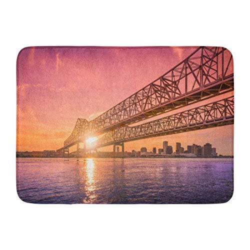 Sheho Rutschfeste Fußmatten New Orleans Louisiana USA bei Crescent City Connection Brücke über den Mississippi während des Sonnenuntergangs Durable Home Decor Mat (23.6 x 15.7 Zoll) - Mississippi-brücke