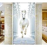 YFXGSTLI Weiß Pferd Falttür Aufkleber Für Schlafzimmer Wohnzimmer Geschenk Kunst PVC Wasserdicht Aufkleber Tür Wickeln 3D 77 * 200 cm