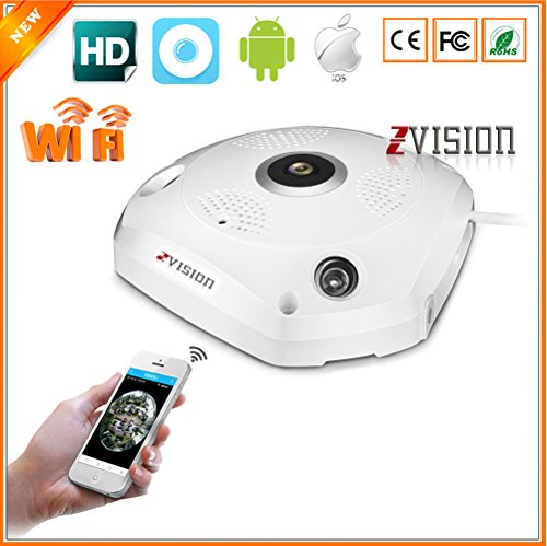 Zvision Hd 1.3mp Wireless Fisheye Ip 3d Vr 360 Degree Panoramic 960p Wi-fi Cctv Camera With Sd Memory Card Slot Multi Viewing Mode