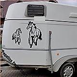 2 gallopierende Pferde groß und klein Aufkleber Anhänger Pferd Anhänger 60 und 30cm höhe