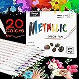 Emooqi acrylstiften markeerstiften, metallic penseelstiften, set 20 kleuren, marker paint pen premium paint marker set permanente kunst viltstiften acrylstiften Painter voor DIY fotoalbum (1-2 mm, zachte punt)