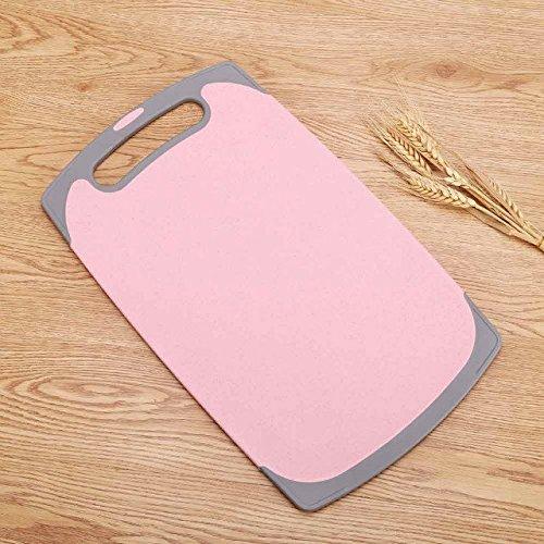 Fyuan Schneidebrett - Weizenstroh Gesunde Öko-biologisch abbaubare Schneidebretter für Küche, groß 40X24X0.8CM, Pink