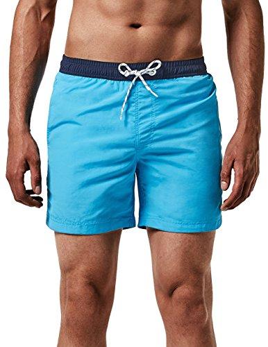 MaaMgic Homme Short de Bains Maillot de Bain avec Filet Style Tropical Voyage Pants Court de Sport Séchage Vite Bien pour Vacance a la Plage, Vert Turquoise, Medium(tour de taille:84~89cm)