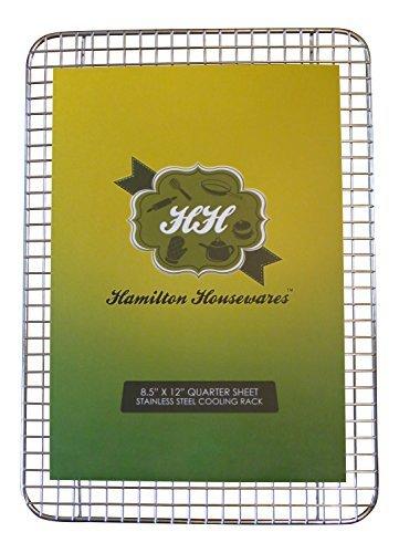 Edelstahl Backgitter - 21,5 cm x 30 cm - Strapazierfähig, professionell - Kekse, Kuchen & Brot abkühlen lassen - Ideal zum Braten von Fleisch und Bacon - Passend für Backbleche (25,5 cm x 33 cm) - Hitze- und waschmaschinenfest
