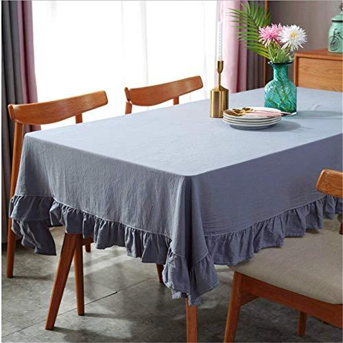 SONGHJ Flounced Tischdecke Plissee Baumwolle Lotus Spitze Tisch Abdeckung Scheibe Falten Stoff Gemütliche Komfortable Tisch Tuch B 140x180cm
