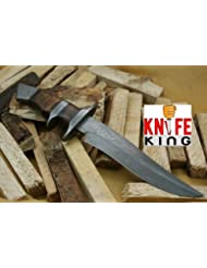 Custom Damas Bowie Couteau de chasse avec fourreau en cuir