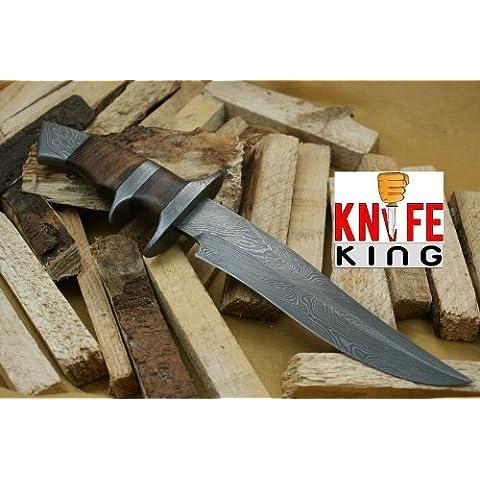 Custom Damasco Bowie–Cuchillo de caza con vaina de piel