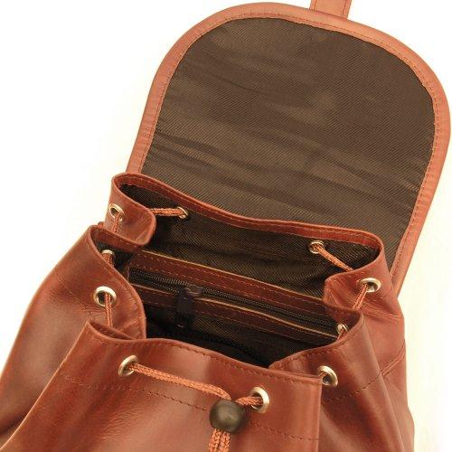 Sac à dos city de taille moyenne, pour femmes et hommes, cuir véritable, différentes couleurs, Hamosons 512 châtaigne