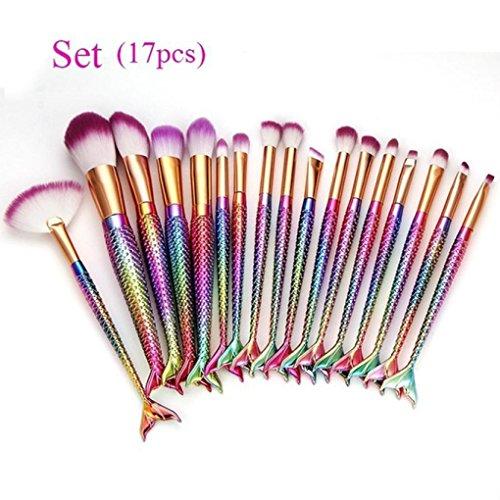 ESAILQ Ensemble de brosses de maquillage 17 Pièces Pinceaux Maquillage Brosse à maquillage en forme de sirène 3D Brosses à cosmétiques Ombre à paupières Eyeliner Blush Brushes (Multicolore)