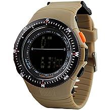Hombre Multifuncional Deportivos Digitales Relojes Impermeable 50M Resistente Agua Plástico Bisel Y Párrafo Correa Goma Outdoor
