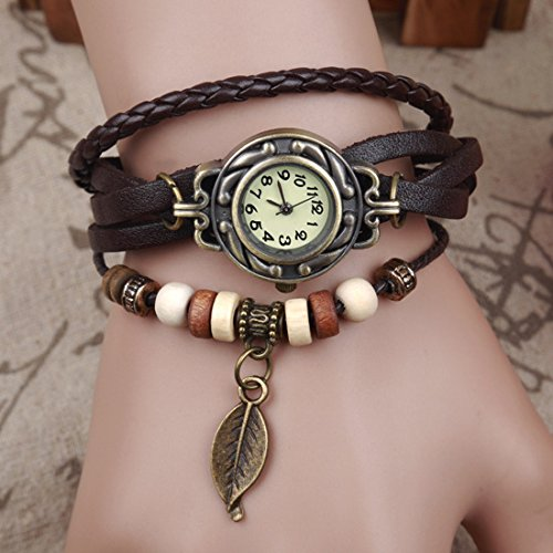 Armbanduhr am arm frau  OEM OrrOrr Blatt Leder Uhr Weave Wrap Around Retro Armband-Dame ...