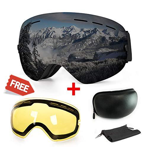 Skibrille, mit Beschlag und UV-Schutz, für Wintersportarten, Snowboardbrille mit austauschbarer, sphärischer Dual-Linse, für Männer, Frauen und Jugendliche, für Schneemobil, Skifahren oder Skaten -