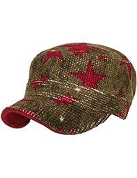 ililily Corduroy TwoTone Star Pattern Cadet Military Cap Wired Brim Flat Top Hat