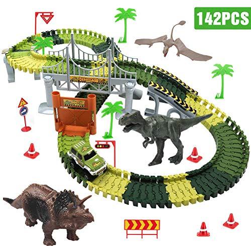 Dookey Dinosaure Voiture, 142 Pièces Flexible Circuit 3 Dinosaure 1 Circuit Enfant Voiture Jurassic Park Cadeau Jouet pour Les Garçons et Les Filles