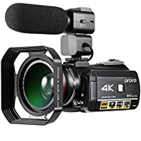ORDRO Professional 4K Ultra HD Night Vision Wifi Digital Video Camera 30X Digital Zoom Camcorder with Microphone Wide Angle Lens and Lens Hood