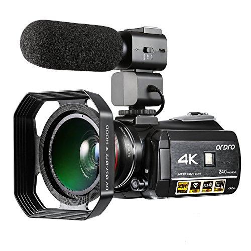 ORDRO Videocámara 4K UHD H.264 IR Visión Nocturna WiFi Cámara Digital con Lente Gran Angular Micrófono Las Capuchas de Lente 30X Zoom Digital (AC3)