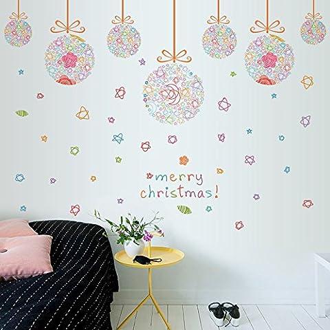 Weihnachten Kugeln Kugel Urlaub Schlafzimmer Wohnzimmer Fenster Dekoration Wand Aufkleber Diy abnehmbare PVC flach Wandtattoo 60 * 90cm