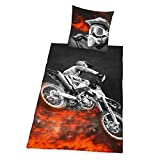 Herding Young Collection Bettwäsche-Set, Motocross Wendemotiv, Bettbezug 135 x 200 cm, Kopfkissenbezug 80 x 80 cm, Polyester