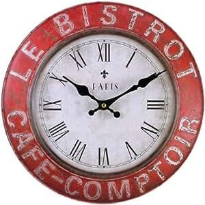 Rouge rustique vintage caf de paris horloge murale de cuisine style shabby chic r tro home - Horloge de cuisine rouge ...
