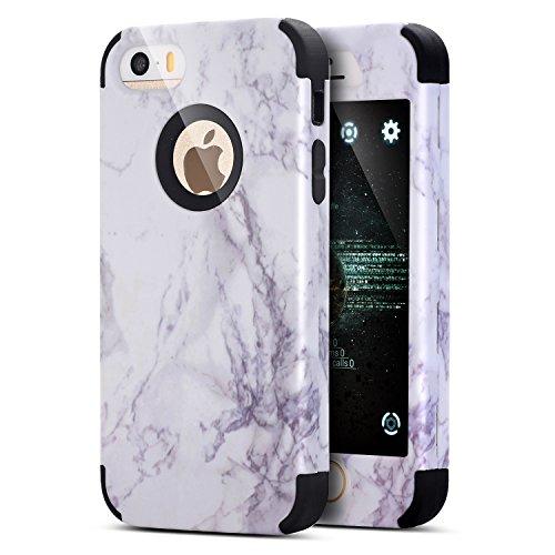 iPhone 6S Plus Hülle,iPhone 6 Plus Hülle,iPhone 6 Plus / 6S Plus TPU Silikon Hülle,ikasus® [Heavy Duty Full-body] Marble Marmor Muster Hybrid Outdoor Dual Layer Armor Hülle Case Handy Schutzhülle für  Schwarz