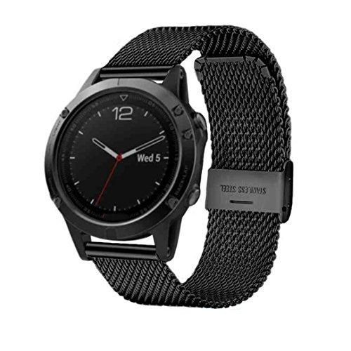 Preisvergleich Produktbild Sansee Mesh Milanese Edelstahl Uhrenarmband Armband für Garmin Fenix 5 Edelstahl Uhrenarmband (Schwarz)