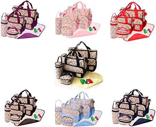Preisvergleich Produktbild Nest des Kind–Set Tasche [Polka] Fassungsadapter Wickeltasche + 2° Tasche + Wickelunterlage + Flaschenhalter ROSA