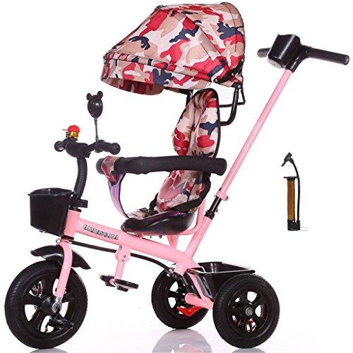 Multifuncional 4-en-1 Edición deportiva Trike Triciclo infantil Carrito para niños con toldo anti- UV y asa para padres para niños de 1-3-6 años Niños y niñas (Vitality Pink Bike) ( Color : B )