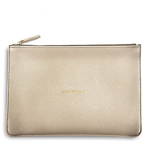 Katie Loxton Perfect Pouch Clutch Bag Metallic Gold - GOOD AS GOLD