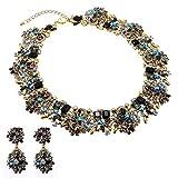 Jerollin Set Collana da Donna Girocollo con Orecchini Con Vetro Diamante Multi-Colori