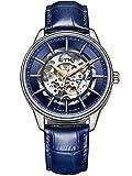 Alienwork Herren Damen mechanische Automatik-Uhr Silber mit Lederarmband blau Skelett