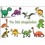 10 Dinosaurier-Einladungen/Geburtstagseinladungen Kinder Mädchen Jungen: 10-er Set Einladungskarten zum Kindergeburtstag oder ins Museum.