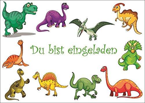 Dinosaurier-Einladungen (Set 1): 10 lustige Dinosaurier Einladungskarten zum Kindergeburtstag oder ins Museum / Geburtstagseinladungen für Kinder (Jungen und Mädchen), Karten-Set mit vorgedrucktem Einladungstext zum selbst ausfüllen von EDITION COLIBRI (10729)