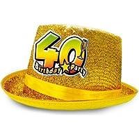 CAPPELLO cilindro 40 Anni glitter - Buon Compleanno - colori assortiti -  invio del colore casuale 7cc7e4920571