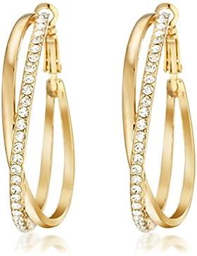 Gemini Creolen (Gold, 18K), attraktive Glitzer & Strass Elemente, Luxus Design, Rundform, für jeden Anlass, beliebt...