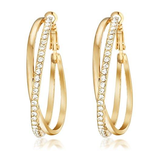 Gemini Ohrreifen (Rose Gold, 18K), attraktive Glitzer & Strass Elemente, Thin Form, sehr leicht, für jeden Anlass, beliebt bei Girls & Damen, 1,5 cm Durchmesser