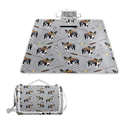 rier Hexen-Zauberer Hund Muster Geschenk Picknick-Matte Outdoor Decke Perfekt für den Strand, Wandern, Camping, Park Gras, groß, 144,8 x 149,9 cm ()