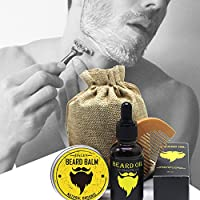 Kit de Cuidado de la Barba,niceEshop(TM) 30G Balsamo Barba+30ML Aceite de Barba+Peine+Bolsa de Transporte Portátil,El Regalo Ideal para los Hombres con Barba