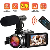 "Camcorder Video Camera 2.7K 30MP Digital Camcorder Camera with Microphone Full HD Vlogging Camera with Pause Function Rotatable 3.0"" Touch Screen"