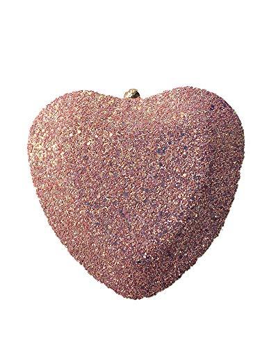 DOUEER Damen Clutch in Herzform, mit Pailletten besetzt, mit Schulterkette, Pink (rose), Einheitsgröße